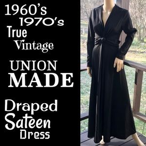 ⭐️HP⭐️ILGWU▪️60's 70's Draped Sateen Dress